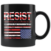 RESIST (with American Flag in Distress) Mug (black)