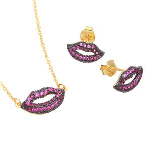 Sterling Silver Gold Plated Pink CZ Lips Jewlery Sets