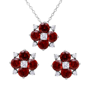 .925 Sterling Silver Rhodium Plated Red Ruby Flower CZ  Jewelry Earring Necklace Set