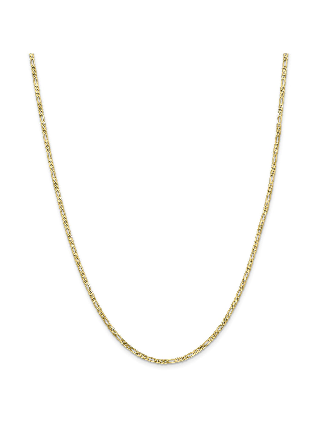 10k Yellow Gold 2.2mm Wide Figaro Chain Necklace
