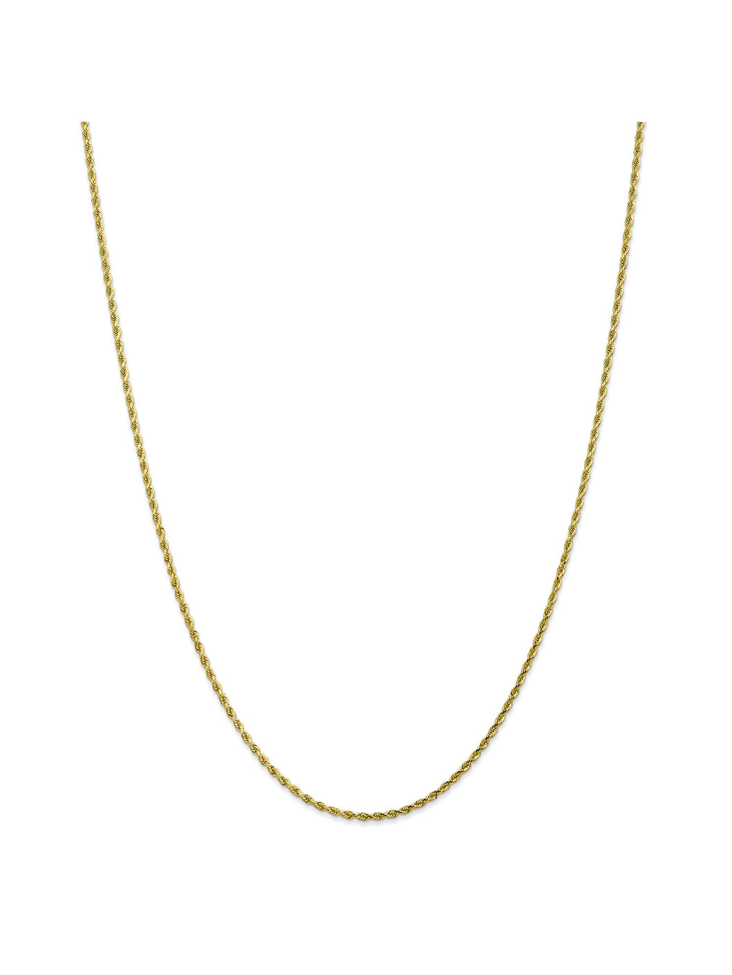 10k Yellow Gold 2mm Handmade Rope Chain Necklace