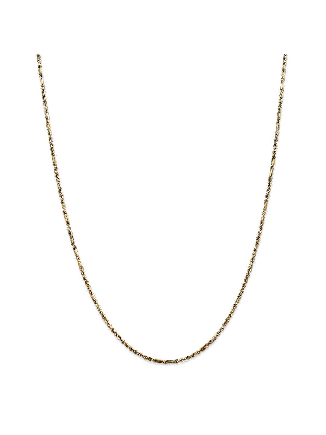 14k Yellow Gold 2mm Wide Milano Rope Chain Necklace