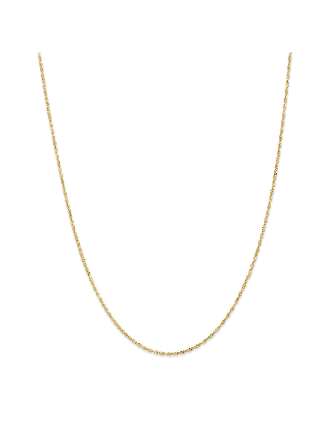 14k Yellow Gold 1.1mm Wide Singapore Chain Necklace