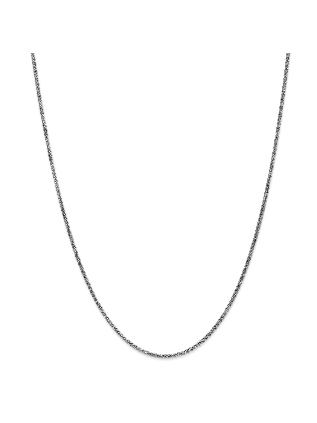 14k White Gold 1.65mm Wide Wheat Chain Necklace