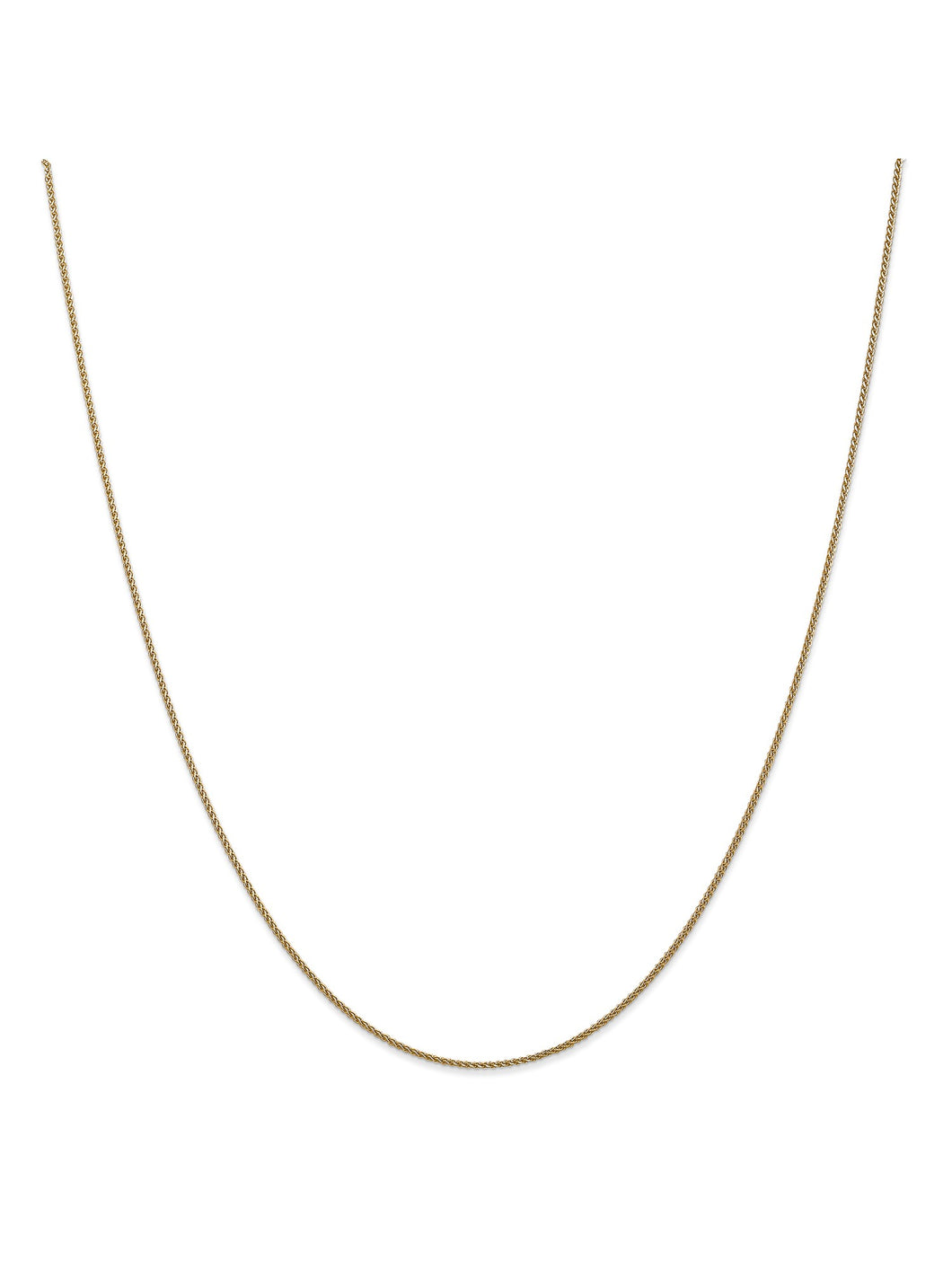 14k Yellow Gold 1mm Wide Wheat Chain Necklace