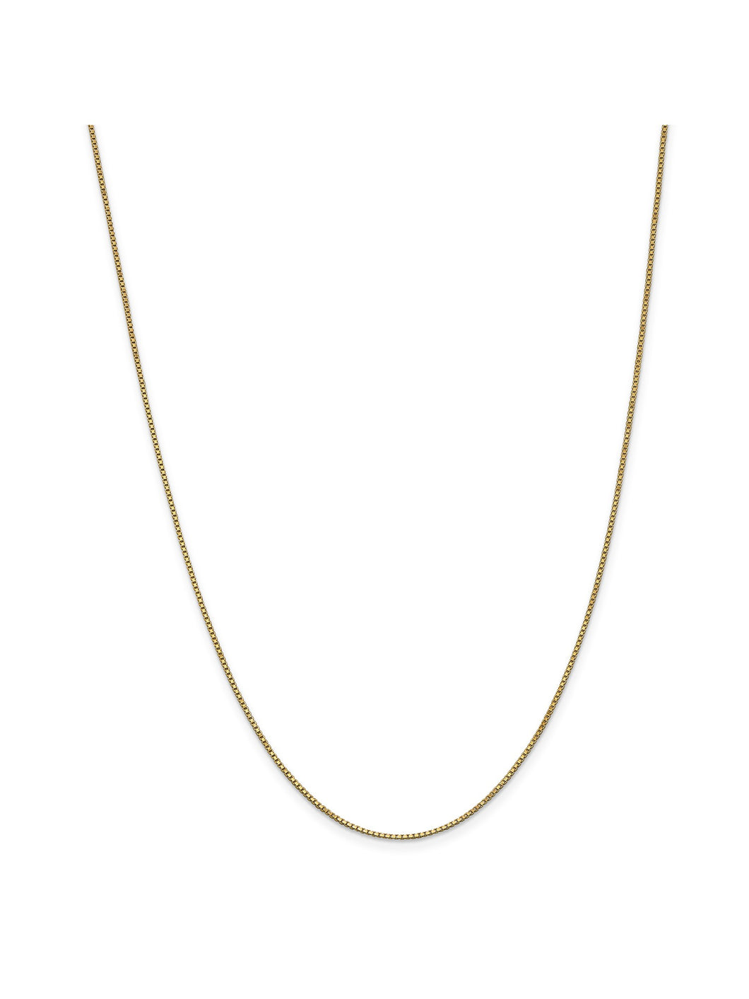 14k Yellow Gold 1mm Wide Shiny Box Chain Necklace