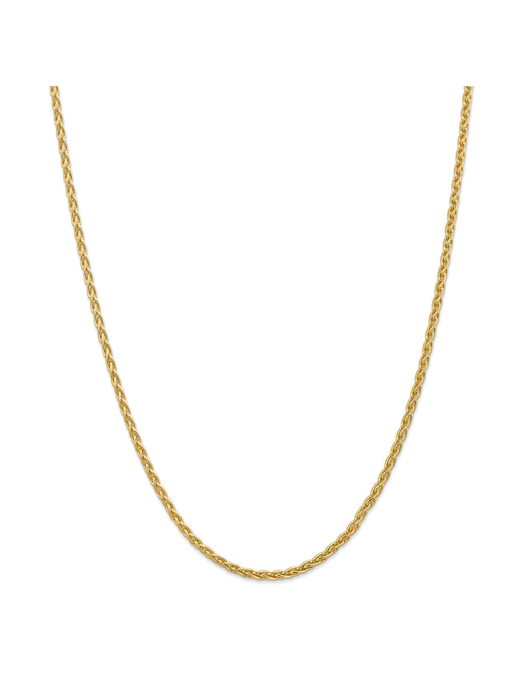 14k Yellow Gold 3mm Parisian Wheat Chain Necklace