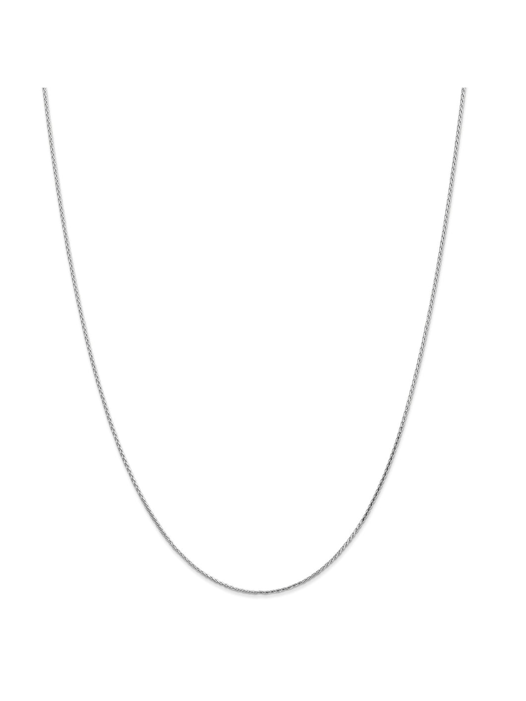 14k White Gold 1mm Round Wheat Chain Necklace