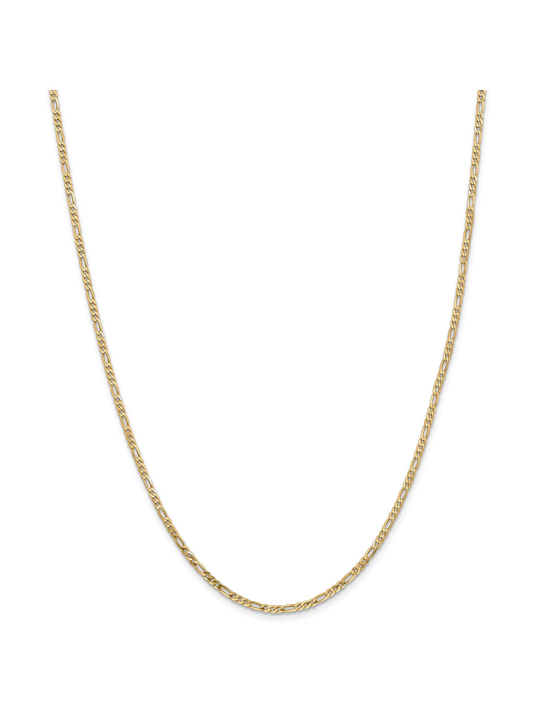 14k Yellow Gold 2.25mm Flat Figaro Chain Necklace