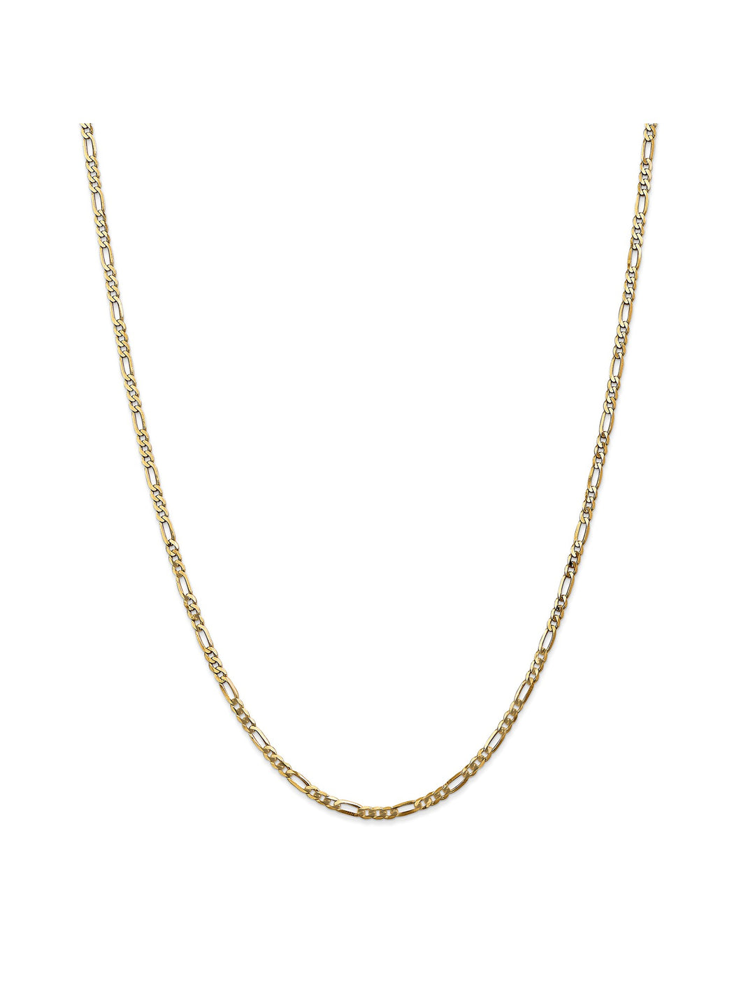 14k Yellow Gold 2.75mm Flat Figaro Chain Necklace