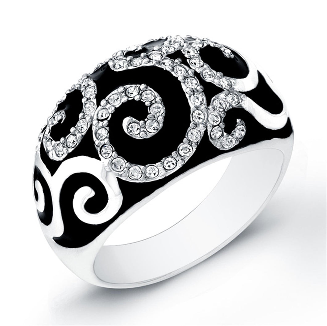 Sterling Silver Rhodium Plated with Black Enameled and Cubic Zirconia Ring