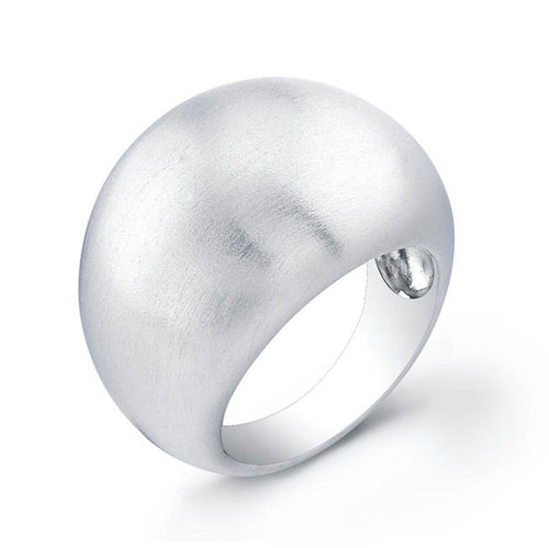 Sterling Silver Rhodium Plated Dome Ring