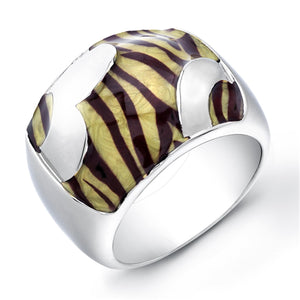 Sterling Silver Rhodium Plated with Yellow and Black Enameled Ring