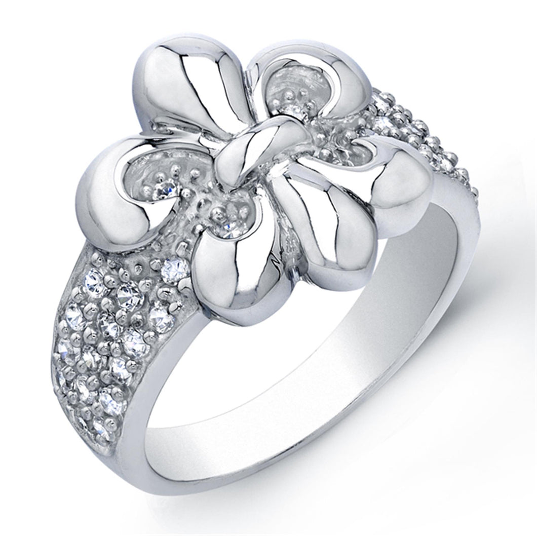 Sterling Silver Rhodium Plated and Cubic Zirconia Fleur De Lis Ring