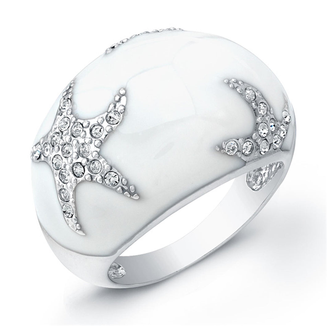 Sterling Silver Rhodium Plated with White Enameled and Cubic Zirconia Star Ring