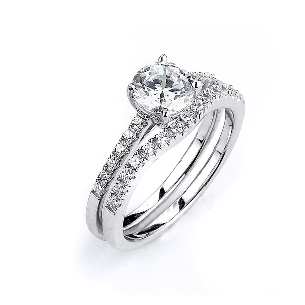 Sterling Silver Rhodium Plated and 6mm round Cubic Zirconia center stone Engagement Ring