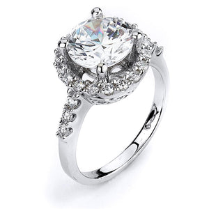 Sterling Silver Rhodium Plated and 10mm round Cubic Zirconia center stone Halo Engagement Ring