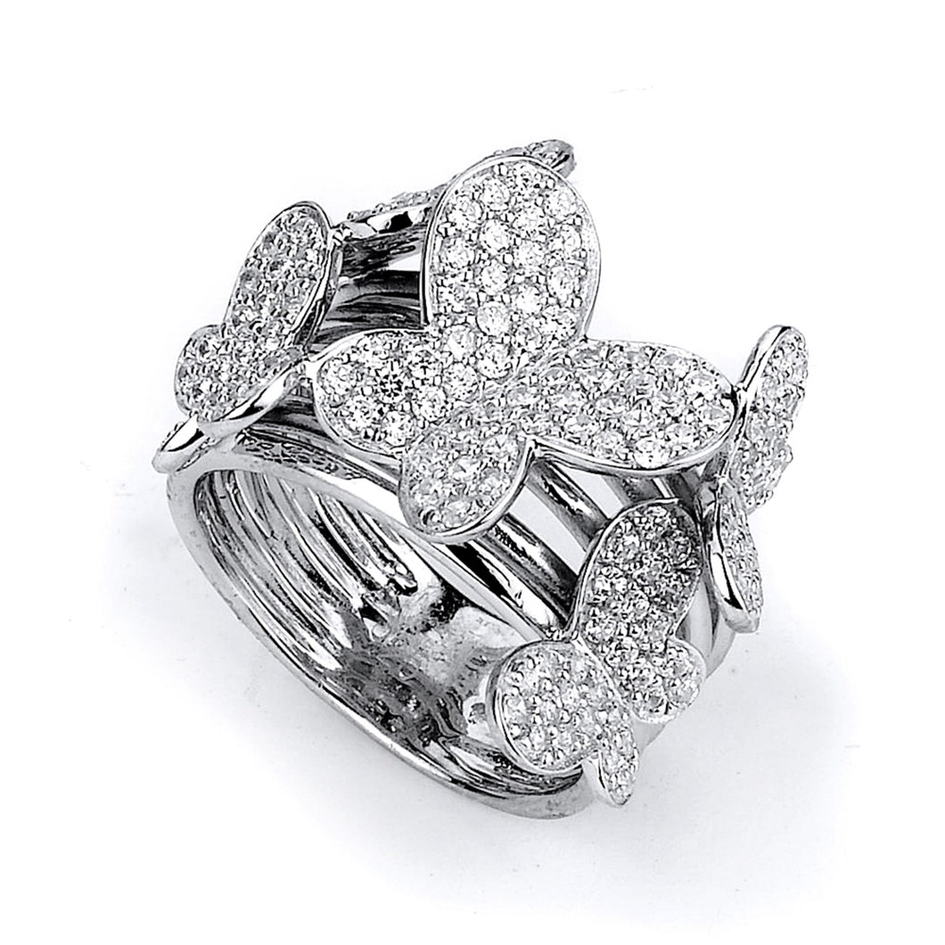 Sterling Silver Rhodium Plated and Cubic Zirconia Butterfly Ring