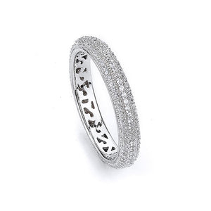 Sterling Silver Rhodium Plated and Cubic Zirconia Eternity Ring