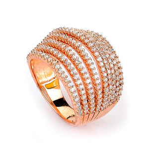 Sterling Silver Rose Gold Plated and 9 rows of Cubic Zirconia Ring