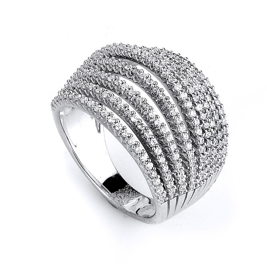Sterling Silver Rhodium Plated and 9 rows of Cubic Zirconia Ring