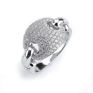 Sterling Silver Rhodium Plated and Cubic Zirconia Link Ring