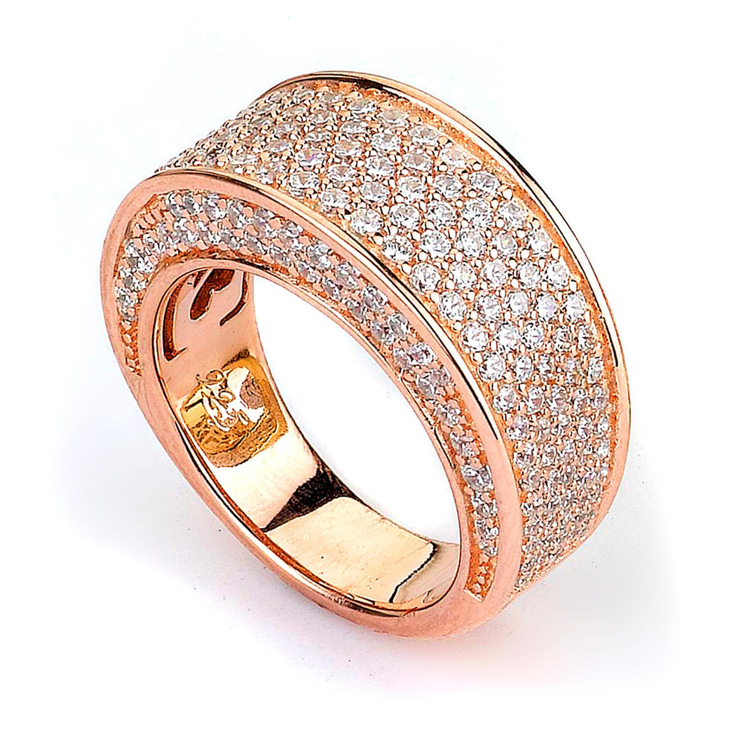Sterling Silver Rose Gold Plated and Cubic Zirconia Ring