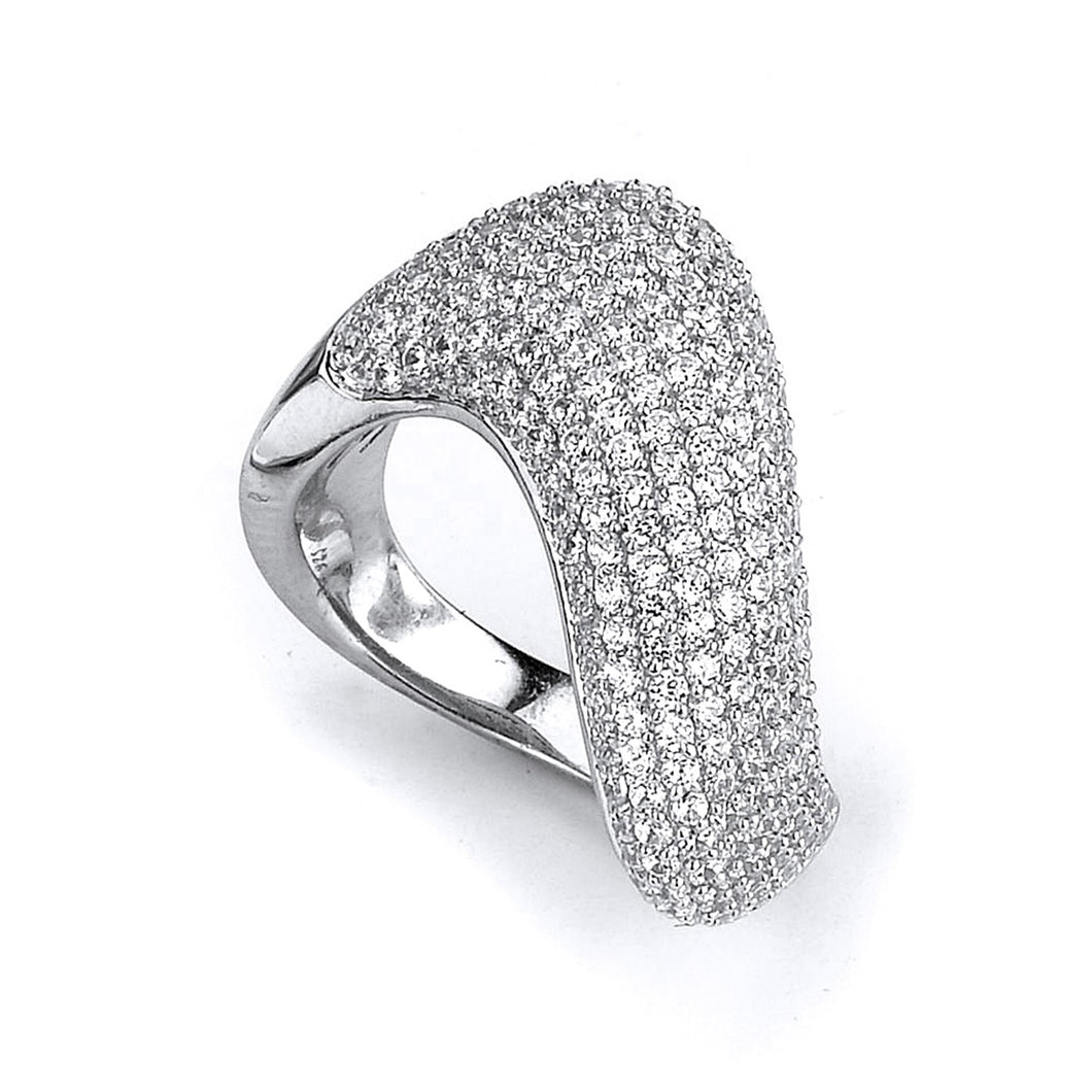 Sterling Silver Rhodium Plated and Cubic Zirconia Swirl Ring