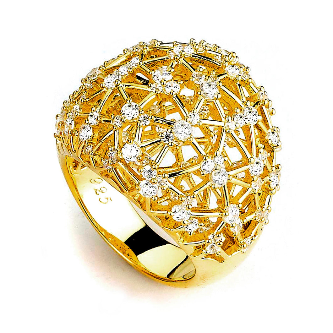 Sterling Silver Gold Plated and Cubic Zirconia Ring