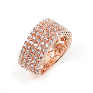 Sterling Silver Rose Gold Plated and 5 rows of Cubic Zirconia Ring