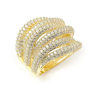 Sterling Silver Gold Plated and 6 swirls of Cubic Zirconia Ring