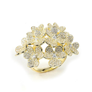 Sterling Silver Gold Plated and Cubic Zirconia Flowers Ring
