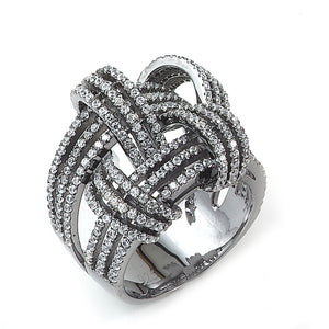 Sterling Silver Black Rhodium Plated and Cubic Zirconia Weave Basket Ring