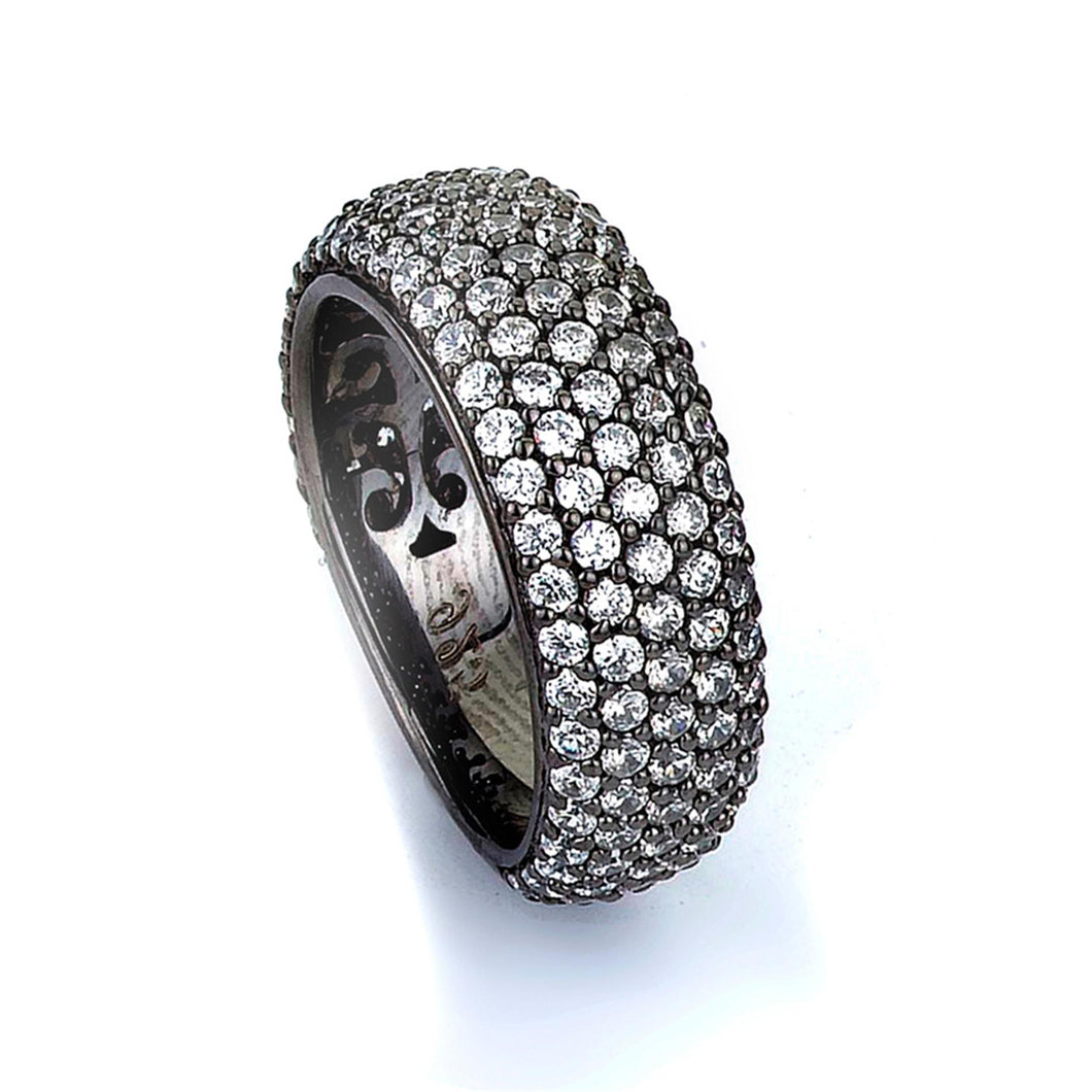 Sterling Silver Black Rhodium Plated and Cubic Zirconia Band