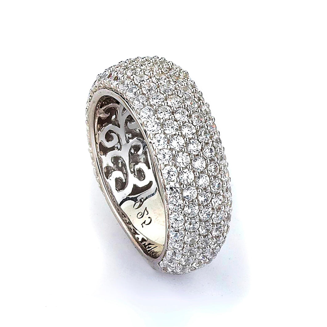 Sterling Silver Rhodium Plated and Cubic Zirconia Band