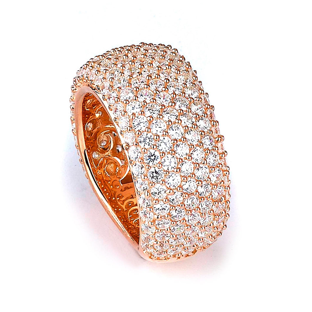 Sterling Silver Rose Gold Plated and Cubic Zirconia Band