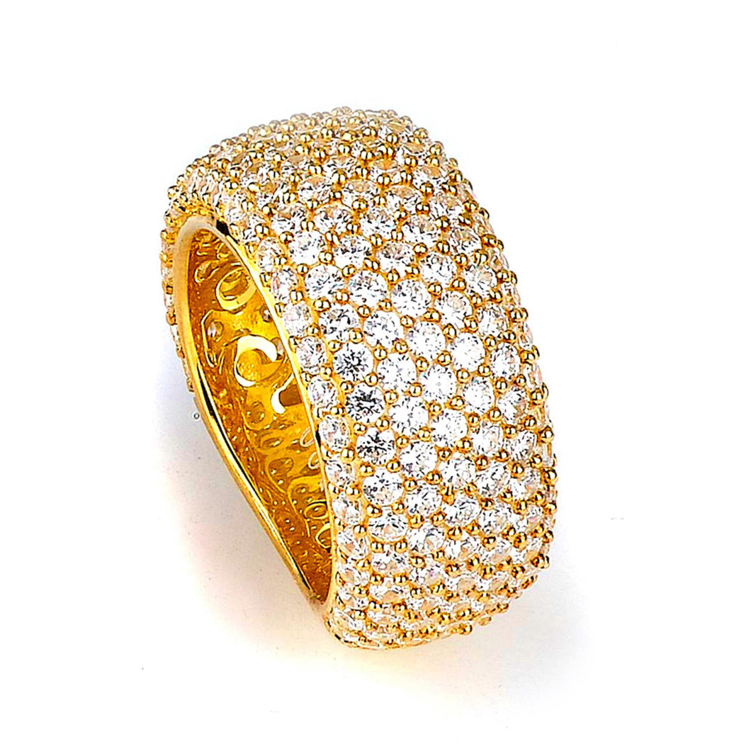 Sterling Silver Gold Plated and Cubic Zirconia Band