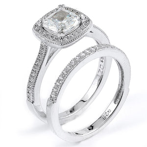 Sterling Silver Rhodium Plated and cushion cut Cubic Zirconia Halo Wedding Set