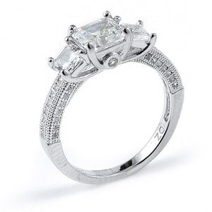 Sterling Silver Rhodium Plated and asscher cut Cubic Zirconia Engagement Ring
