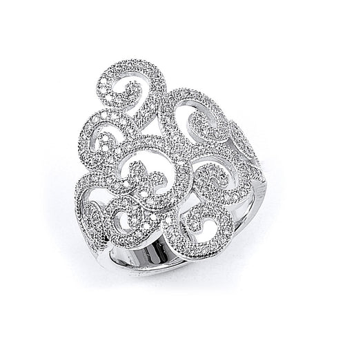 Sterling Silver Rhodium Plated and Cubic Zirconia Ring