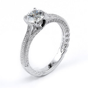 Sterling Silver Rhodium Plated and round Cubic Zirconia Engagement Ring