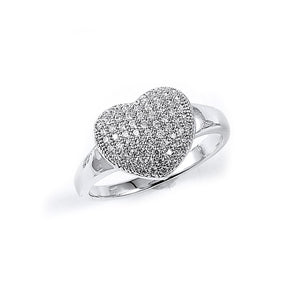 Sterling Silver Rhodium Plated and Cubic Zirconia Heart Ring