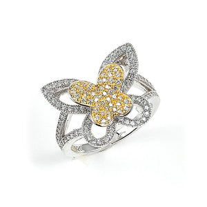 Sterling Silver Rhodium Plated with 14k Gold Plating and Cubic Zirconia Butterfly Ring