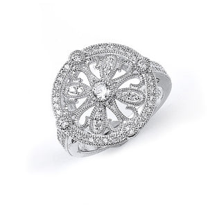 Sterling Silver Rhodium Plated and Cubic Zirconia Circular design Ring