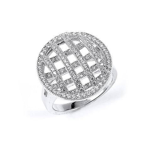 Sterling Silver Rhodium Plated and Cubic Zirconia Pie Ring