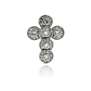 .925 Sterling Silver Rhodium Plated Round Cross Cubic Zirconia Dangling Pendant
