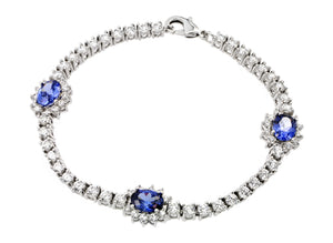 Brass Rhodium Plated Clear Blue Tanzinite Cubic Zirconia Tennis Bracelet