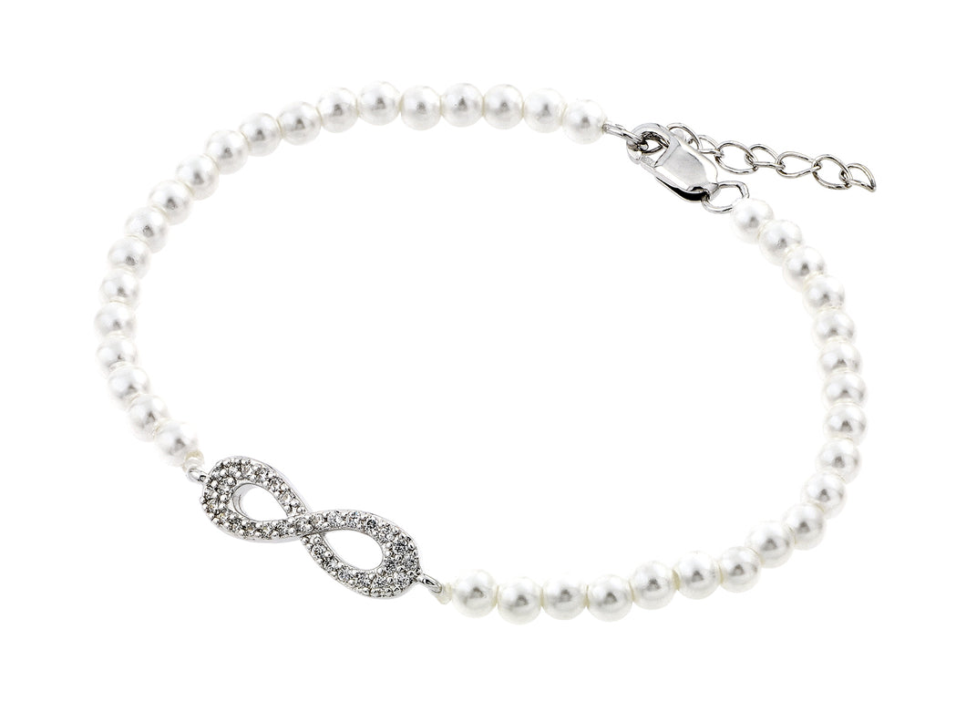.925 Sterling Silver Rhodium Plated Open Infinity Cubic Zirconia Fresh Water Bracelet