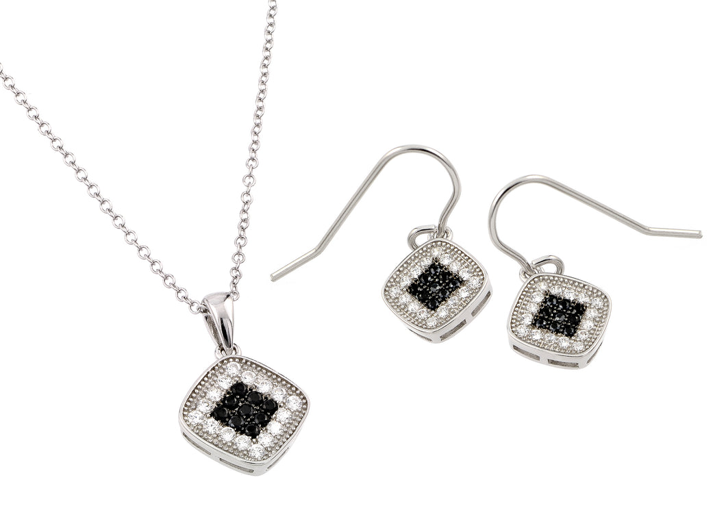 .925 Sterling Silver Rhodium Plated Black  Clear Micro Pave Square Cubic Zirconia Hook