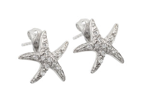 .925 Sterling Silver Rhodium Plated Starfish Cubic Zirconia Inlay Stud Earring